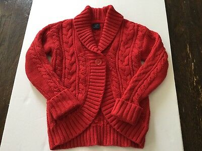Girl's Red Cable Knit Sweater, Size 5T, Baby Gap