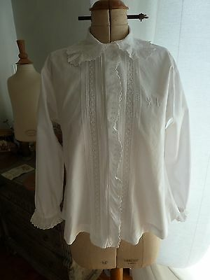 superbe chemisier ancien corsage vers 1900 broderie anglaise  mono R.L