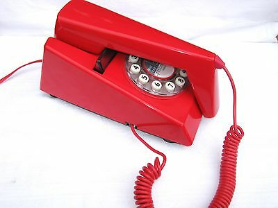 WILD & WOLF Retro Style Push Button Dial Trim Phone Telephone in Red Trimphone