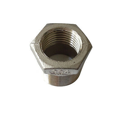 "Stainless Steel 304 Pipe Fitting Reducing Bushing 3/4"" Male NPT* 1/2"" FNPT"