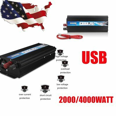 2000W 4000 WATT DC 12V AC 220V Car Power Inverter Electronic Charger Converter