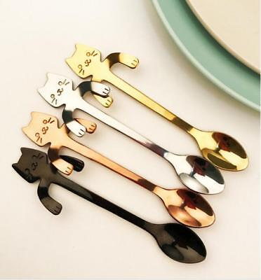 Fashion Stainless Steel Cut Cat Coffee Spoon Kitchen Supplies Hanging Cups Good