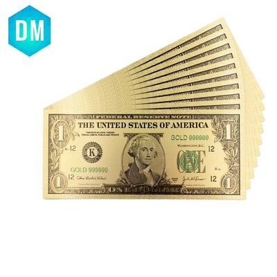 24k Gold Foil Banknotes USA Bill 1 Dollar Collection Currency Money Decor Gift