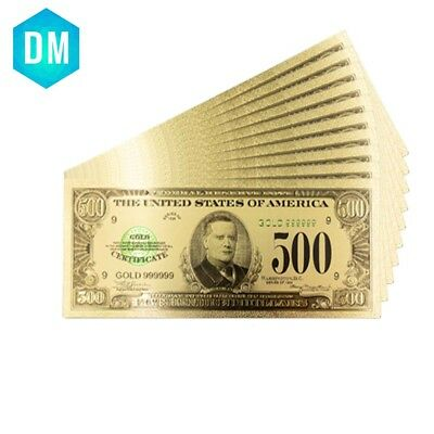 1918 Collectible Art Craft USA 500 Dollar Antique Style 24k Gold Plated Banknote