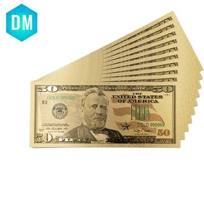 Colour USA Gold Banknote 50 Dollar Bills Gold Plated Business Gift Collection