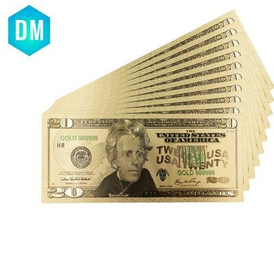 24k Gold Banknotes USA 20 Dollars Collections Currency Fake Money Home Decor