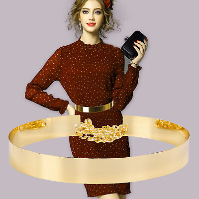 Women Hot Full Metal Waist Mirror Wide Plate Chains Waistband Metallic Belt Bhbk