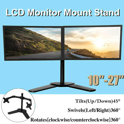 Computer Monitor Stand Double Arm Desk Mount LCD LED Bracket 10''-27'' Screen TV