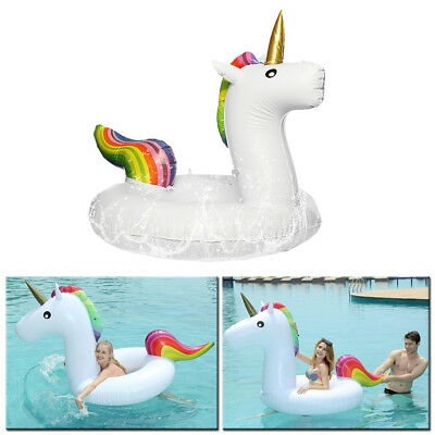 Inflatable Rainbow Unicorn Water Float Raft Summer Swim Pool Beach Seat Ring Toy