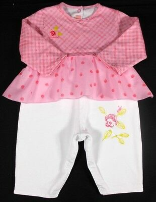 Marese baby girl romper pink white cotton 3 month