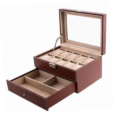 Songmics Glass Lid Lockable Jewellery and Watch Storage Box for 10 Watches