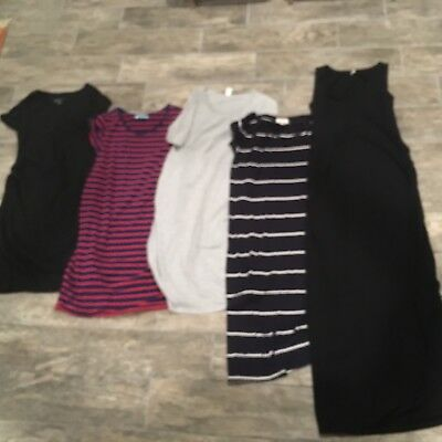 Lot Of 5 Maternity Dress Liz Lange Maxi Long Old Navy Small Cinched Belly Stripe