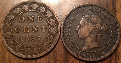 1887 Canada Large 1 Cent Coin Penny G+ Buy 1 Or More Its Free Shipping!