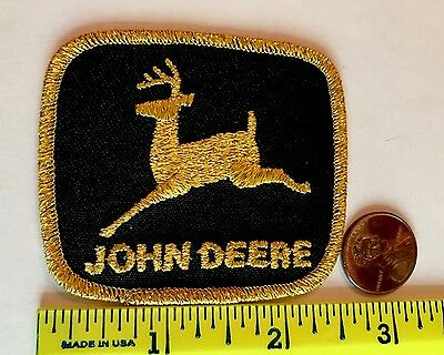 VINTAGE*JOHN DEERE PATCH* BLACK & GOLD*Embroidered Iron-On Patch*2.5""