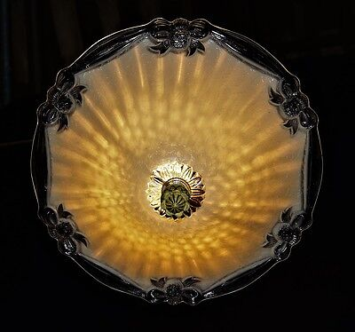 Vintage Glass Shade Ceiling Light Chandelier Fixture  1930