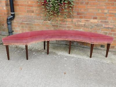 A Stunning Large Antique Curved Window Seat On Taper Legs