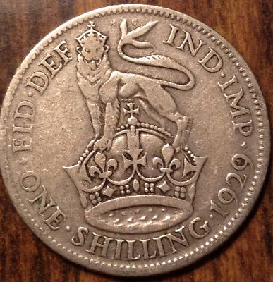 1929 Uk Gb Great Britain Silver Shilling