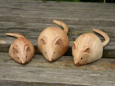 SET OF 3 Hand Carved Wooden Mice Mouse Family.....