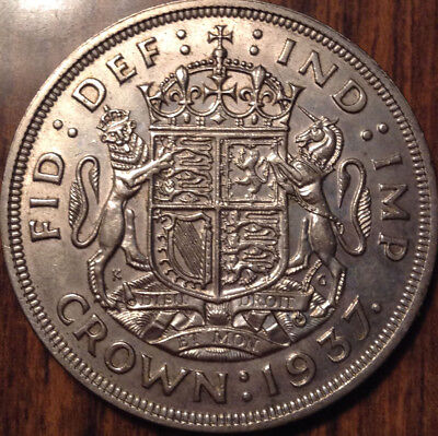 1937 Uk Gb Great Britain Silver Crown Best Of Circulated Condition