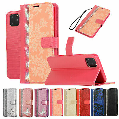 For iPhone XS Max/XR/7 8 Plus Flip Leather Bling Rose Pattern Wallet Case Cover