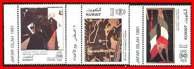 Kuwait 1991 Saddam's Invasion C#1152-54 Mnh Military, Paintings