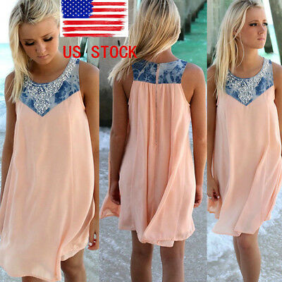 US Ship Lady Boho Sleeveless Long Tops Summer Beach Swing Dress Chiffon Sundress