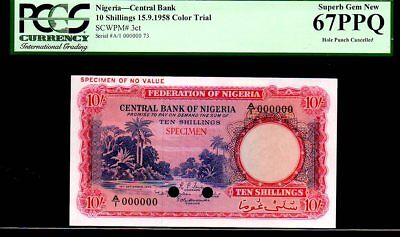 "NIGERIA P3ct 10 Shillings 1958 PCGS 67PPQ ""Color Trial"" River Scene Finest Known"