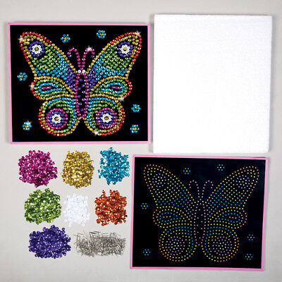 Butterfly Sequin Picture Art Kit for Children to Make Personalise Kids Craft Set