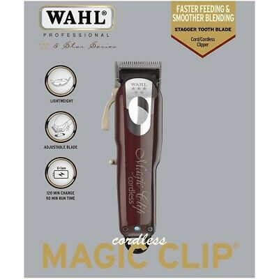 Wahl Professional 5 Star Magic Clip Cordless Hair Clipper *uk* *stagger Tooth*