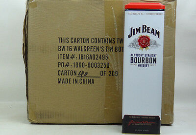 (Wholesale Case of 12) Jim Beam Bourbon Whiskey Collectible Tin Can Container