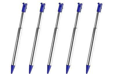 5x 3DS Blue Silver Stylus Metal Retractable Touch Pen for Nintendo - New
