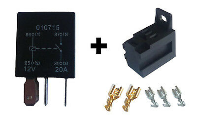 MICRO Relay - 4 Pin - 'Normally Open' - 20A - 12V - SEALED + Base with Terminals