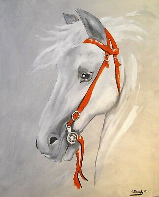 """abstract Oil Painting canvas 20 x 24"""" from the artist Kevin Richards white horse"""