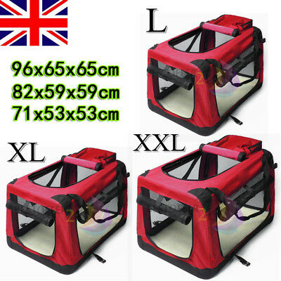 Fabric Soft Pet Crate Cat Dog Cage Carrier House Kennel Foldable Portable Red UK