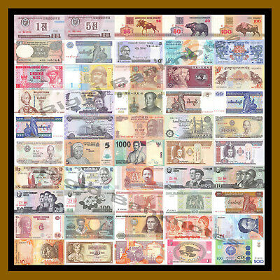 50 Pcs of Different World Mix (Mixed) Foreign Banknotes Currency Lot, Unc