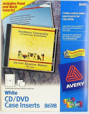 NEW Avery #8698 Customize Labels White CD/DVD Jewel Case Inserts Pack of 10 Sets
