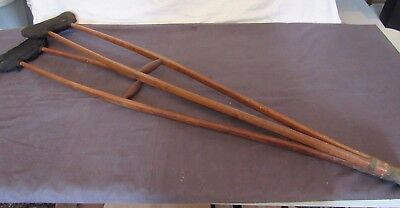 2 Antique Split Wood Medical Crutches Padded Arm Rests 1800s or 1900s