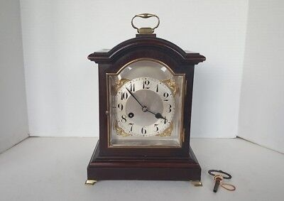 Anitque Mahogany German Striking Junghans Bracket Clock With Key