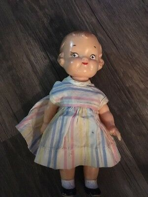 """Original Campbell Soup Kid Doll 8"""" Vintage Collectible Made by Ideal 1950s"""