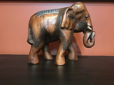 Solid Wooden Carved Elephant Statue