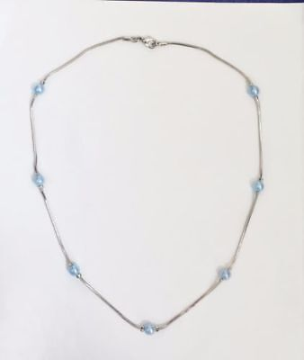 Celestine Baby Blue Pearl Beaded Choker Necklace in Silver