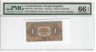 P-78a 1953 1 Koruna,  Czechoslovakia / Peoples Republic,  PMG 66EPQ