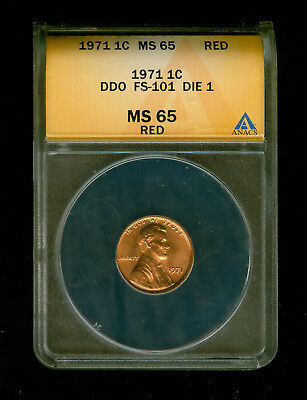 1971-P Doubled Die Obverse (DDO) Lincoln Penny/Cent ANACS MS 65 Red (RD) FS-101