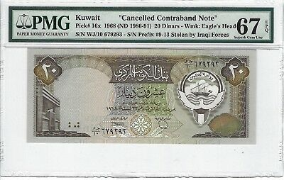 P-16x 1986-91 20 Dinars, Kuwait, Cancelled Note, PMG 67EPQ SUPERB!