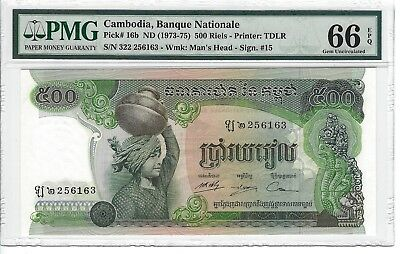 P-16b 1973 500 Riels, Cambodia Banque Nationale, PMG 66EPQ Nice