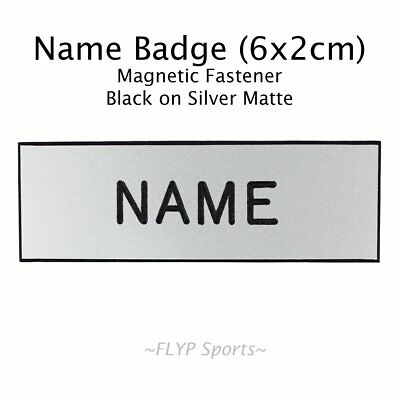 Name Badge Tag Magnetic Silver Matte Personalised Engraved Employee Customised