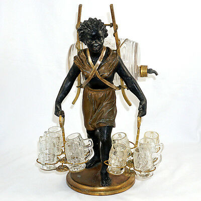 "Antique French Liquor Service Caddy 14.5"" Blackamoor Tantalus Glass Decanter"
