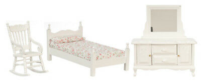 Dollhouse Furniture Town Square Miniature 3pc Bedroom Set in White #T0529