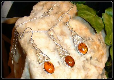 """Amber Silver Necklace and Earring Set Celtic in .925 silver 20"""" silver chain"""