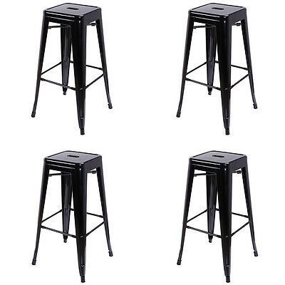 Set Of 4 Metal Bar Stools 30 Stackable Tolix Style Stools Backless